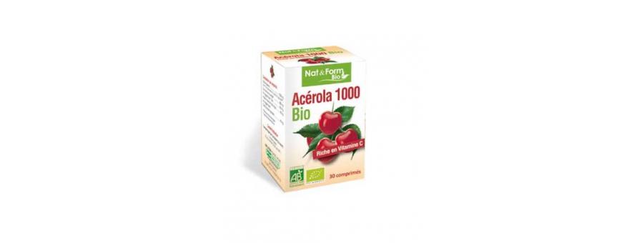 Acérola 1000 Bio (Riche en Vit C - 100% naturelle)